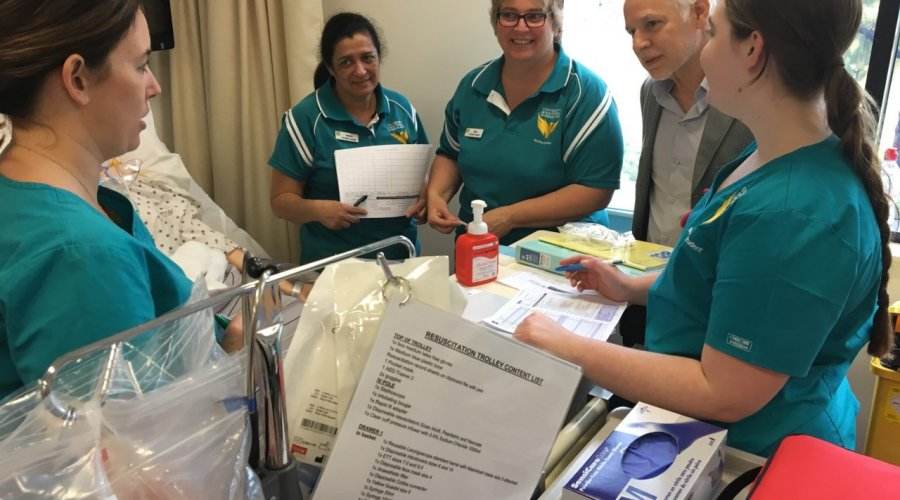 GII Chair, Steve Douglas,engaging with Bachelor of Nursing students at a practical  intensive.