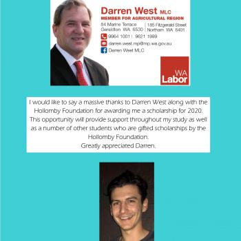Riley Barham - Hon Darren West MLC Scholarship Winner